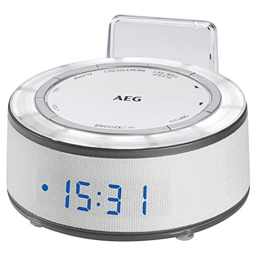 AEG MRC 4151 klok radio met 24 uur LED-display, AUX-IN, modlight in 7 tinten, temperatuurweergave, 10 stations, wit