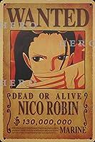 海賊アニメNICO Robinニコ・ロビン さびた錫のサインヴィンテージアルミニウムプラークアートポスター装飾面白い鉄の絵の個性安全標識警告バースクールカフェガレージの寝室に適しています