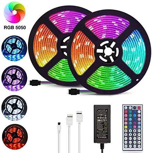 LED Strip Lights, 32.8ft/10M 5050 RGB 300 LEDs Strip Lights Non-Waterproof Rope Lights Color Changing Tape Light Kit ...