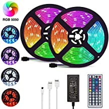 LED Strip Lights, 32.8ft/10M 5050 RGB 300 LEDs Strip Lights Non-Waterproof Rope Lights Color Changing Tape Light Kit with ...