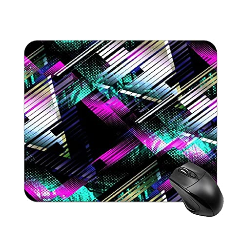 Mouse Pad Pop Retrowave with Glitch Design Cyberpunk Digital Gradient and Modern Retrofuturism for Office Computers Laptop Travel Gaming Working Studying Graphic Designers Gaming pc Felt Desk mat lyx
