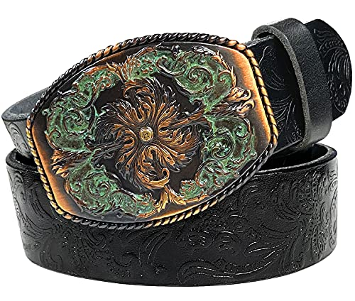 Western Full Grain Genuine Leather Belt With Floral Engraved Buckle 2
