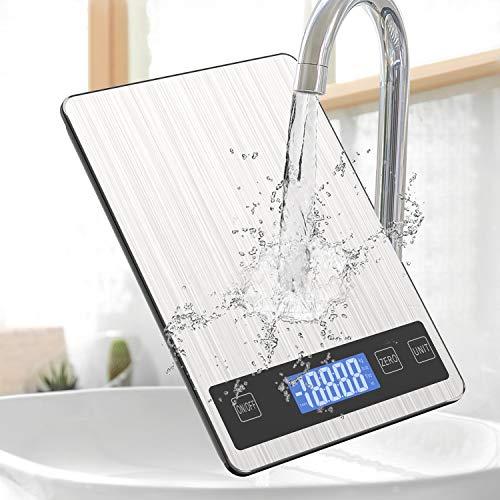 Digitale keukenweegschaal Voedselweegschaal, 5 kg/11 lb Premium RVS elektrische kookweegschalen Elektronische weegschalen met LED-scherm, Tarie- en PCS-functies, voor keuken, ingrediënten, sieraden, medicijnen, koffie, thee
