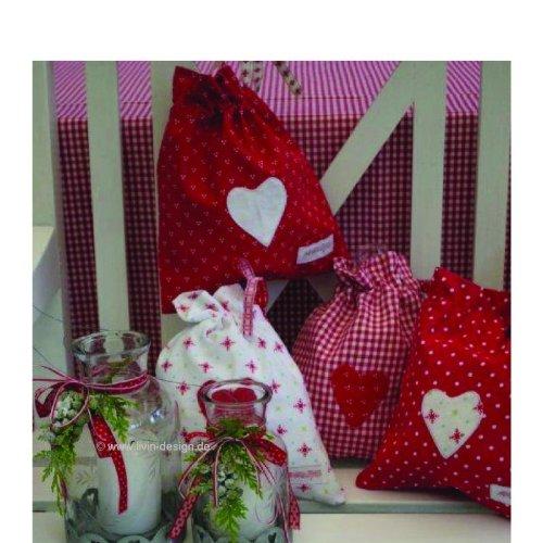 Sac pochette en forme de 3 motif pois rouge/blanc - 25,5 x 22 cm
