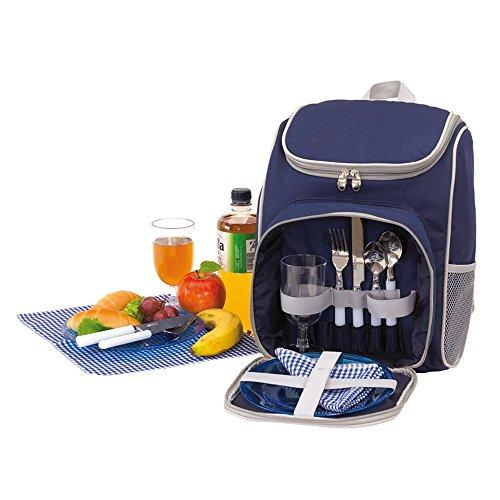 Unbekannt Picknick Rucksack für 2 Personen 27x14x37cm Kühlrucksack Leicht Picknicktasche viel Zubehör