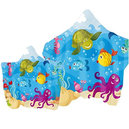 Eltern-Kind Badetuch mit Kapuze Handtuch Ozean Tier Delfin Wal Drucken Poncho Kapuzen Badetuch Bademantel Schwimmen Strand Tuch Surfing Tauchen Kinder Erwachsene (Farbe 2, Kind: 130 × 150 cm)