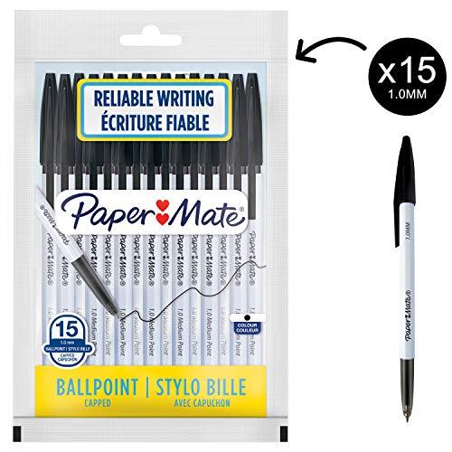 Paper Mate O45 Penne a Sfera Retrattili, Punta Media 1.0 mm, Inchiostro Blu, Nero, 12 Pezzi