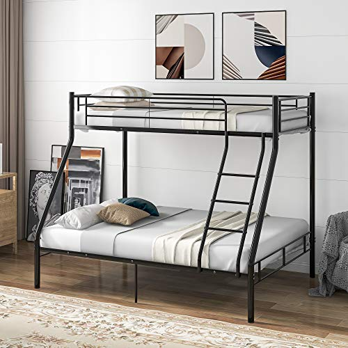 WGYDREAM Metal Bunk Bed Triple Metal Bed Frame 3ft Single & 4ft6 Double 3 Sleeper Bunk Bed for Childrenroom, Black