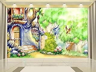 Yosot 3D Wallpaper Photo Wallpaper Custom Kids Mural Livingroom Magic Garden Fairies Painting Backdrop Non-Woven Wallpaper for Wall 3D-400Cmx280Cm