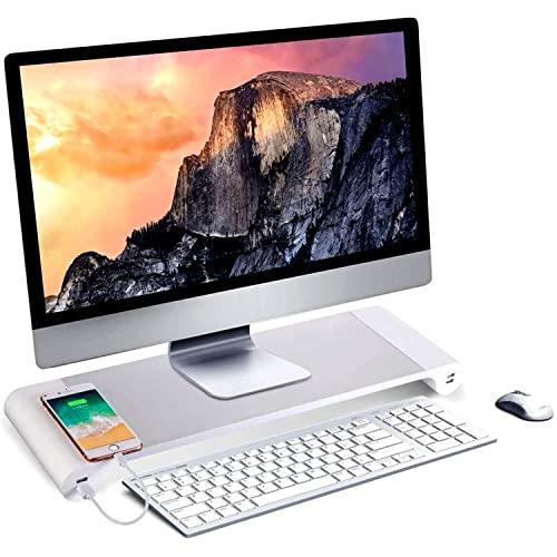 """NK Soporte de Monitor Portátil - Elevador de Ordenador de Aluminio Antideslizante, 4 Puertos de Carga USB, 22W, hasta 20"""", Peso 10kg, (Color Plateado)"""