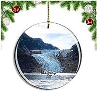 スキャグウェイデビッドソン氷河アラスカ米国クリスマスデコレーションオーナメントクリスマスツリーペンダントデコレーションシティトラベルお土産コレクション磁器2.85インチ
