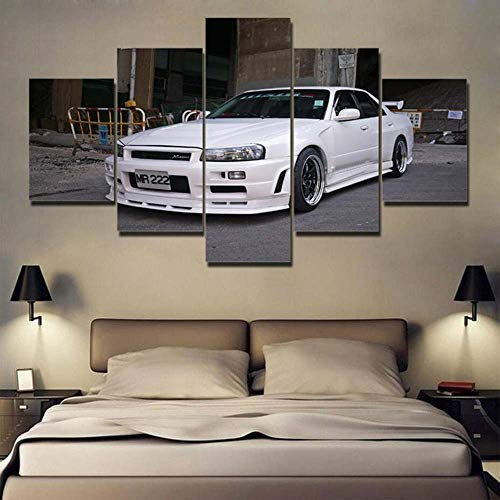KOPASD Canvas Picture-5 Piece- R34 Skyline GTR White Sports Car -150x80cm-5 Part Panels-Ready to Hang-wall art print-Completely framed-Image printed-art on canvas-Christmas Ornaments