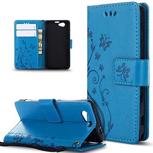 Kompatibel mit Schutzhülle Sony Xperia Z1 Compact Hülle Handyhülle Tasche,Malerei Schmetterling PU Lederhülle Flip Hülle Cover Schale Stand Ständer Etui Karten Slot Wallet Tasche Hülle Schutzhülle,Blau