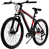 26 Inch Mountain Bike, Adult Men`s Women`s Bikes Carbon Steel 21 Speed Bicycle with Full Suspension MTB, Girls and Boys Mountain Bike Cycling Dual Disc Brakes BMX Bikes for Men Women (U.S. Shipping)
