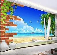 Bosakp カスタム3D壁壁画壁紙ココナッツツリー海景風景壁画写真背景壁紙用リビングルーム寝室 400X280Cm