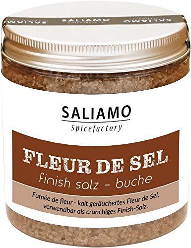 Fleur de Sel, Finish Salz, Rauchsalz, Buchenrauch, Salz mit kräftigem Rauchgeschmack, Rauch Aroma, geräuchertes Salz, Meersalz Rauch 175 g | Saliamo