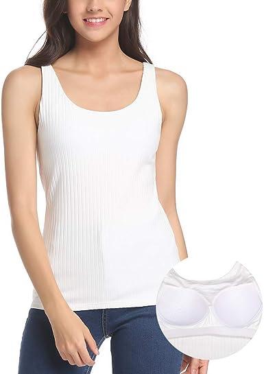 Camiseta básica de Camisa con Sujetador para Mujer con Sujetador Invisible sin Aros Super Suave, Camisetas sin Mangas acanaladas
