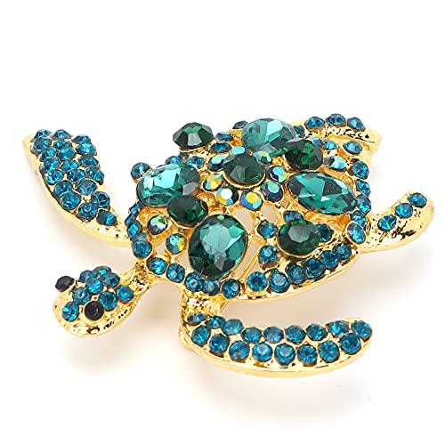 Broche elegante, broche en forma de tortuga para mujer, diamantes de imitación de aleación, broche de moda, accesorio de joyería