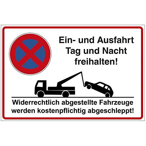 """Schild \""""Ein- und Ausfahrt Tag und Nacht freihalten!\"""" aus Alu / Dibond 300x200 mm - 3 mm stark"""