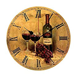 EnjoyHome Red Grape Wine with Roman Numerals Wood Clock Wall Decor Large Numbers Clock for Girls Boys Women Men