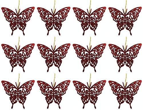 Aminori Set of 12 Hanging Glitter Butterflies Christmas Tree Hanging Decorations 11cm (Red)