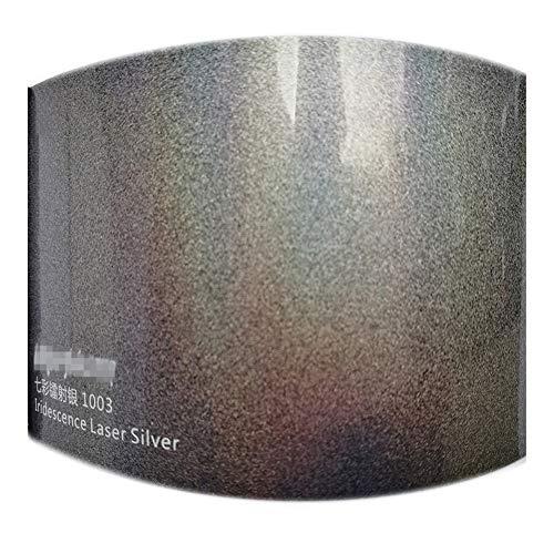 Papel de envolver coche Hoja de cuerpo 1.52x18M iridiscencia cromo de plata del abrigo del vinilo de la película etiqueta engomada del coche de aire burbujas libres del coche decoración engomada de la