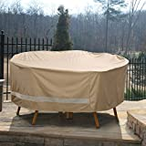Patio Armor SF46617 Ripstop Deluxe Round Table and Chair Set Cover, Taupe