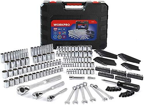 WORKPRO Socket Set, 230-piece Mechanics Tool Kit in Hard Case