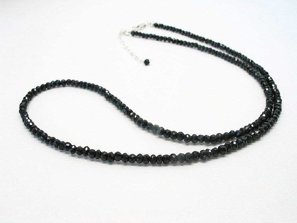Black Spinel Beaded A surprise price is realized famous Gemstone Necklace Silver Adjusts Sterling 18