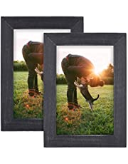 SZQINJI Picture Frame Set of 2 Solid Wood with Real Glass for Room Decor Photo Desktop Display and Wall Mount