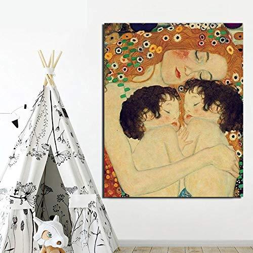 DXNB Gustav Klimt Madre e Hijo Pintura sobre Lienzo Impresión Sala de Estar Decoración del hogar Arte Moderno de la Pared Pintura al óleo Carteles Imágenes 61X76cm