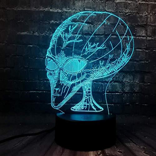 Luz nocturna de 3D lámpara de proyección lámpara Space alien ideal como regalo de cumpleaños para niños, niños y hombres Con interfaz USB, cambio de color colorido