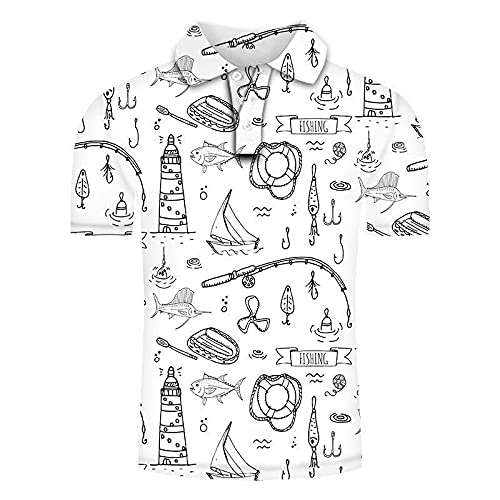 Polo da Uomo Manica Corta,Polo Stampa 3D Moda Manica Corta, Divertente Tonno Bianco E Nero Grafica Casual Traspirante Regular Fit Top T-Shirt, Summer Sport Beach Shirts Streetwear, 2X,Large