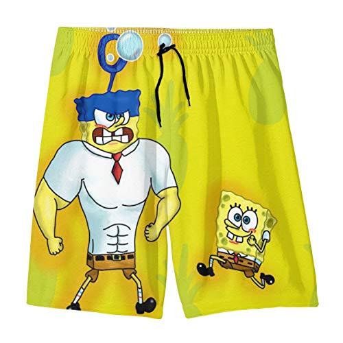 Invinci Bubble Spongebob Squarepants Teenager Shorts Boy and Girl Swimming Shorts Mesh Lined Beach Pants-X-Large White