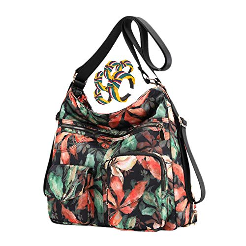 GGLZMMF Floral Nylon Ladies Shoulder Bag Printed Backpack Multifunctional Large Capacity Leisure Bag Travel Life A B C D E F F-OneSize