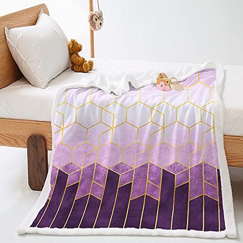Manta de Lana de Cordero En Microfibra 76X100Cm Extra Suave Acogedora y Cálida Manta Cuadrado Morado 3D Impresión Cubierta de Cama Mantas de Sofa Cama para Adultos y Niños