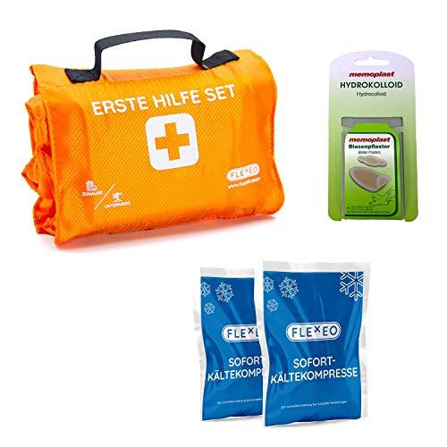 FLEXEO Erste Hilfe Set Outdoor, zum Wandern, Skifahren, Klettern, praktisches Rollenformat, passt in jeden Rucksack, wasserabweisend - Professional Set