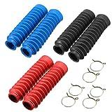 Cubierta Horquilla Moto,Qiundar 3 Pares Horquilla Delantera Cubierta de Goma Amortiguadores Guardapolvos(Negro,Azul,Rojo)