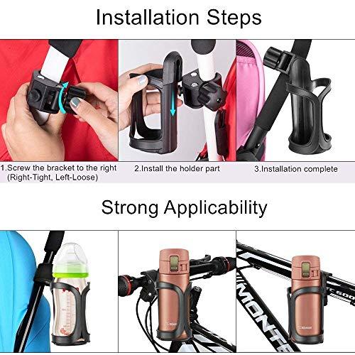 AumoToo Fahrrad Getränkehalter, 360 Grad Rotation Getränk Flaschenhalter Kinderwagen Cup Halter für Fahrräder, Mountainbikes, Kinderwagen und Rollstuhl - 5