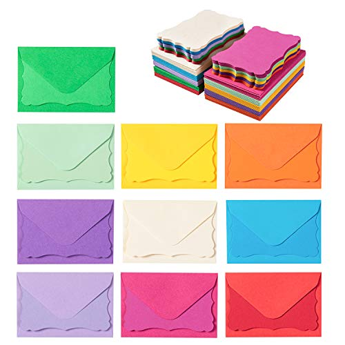 100 Pack Mini Envelopes with Colorful Blank Note Cards Small Self-Adhesive Envelopes Small Business Card Envelopes(4 x 2.7 Inches, 10 Colors) (Multicolored)