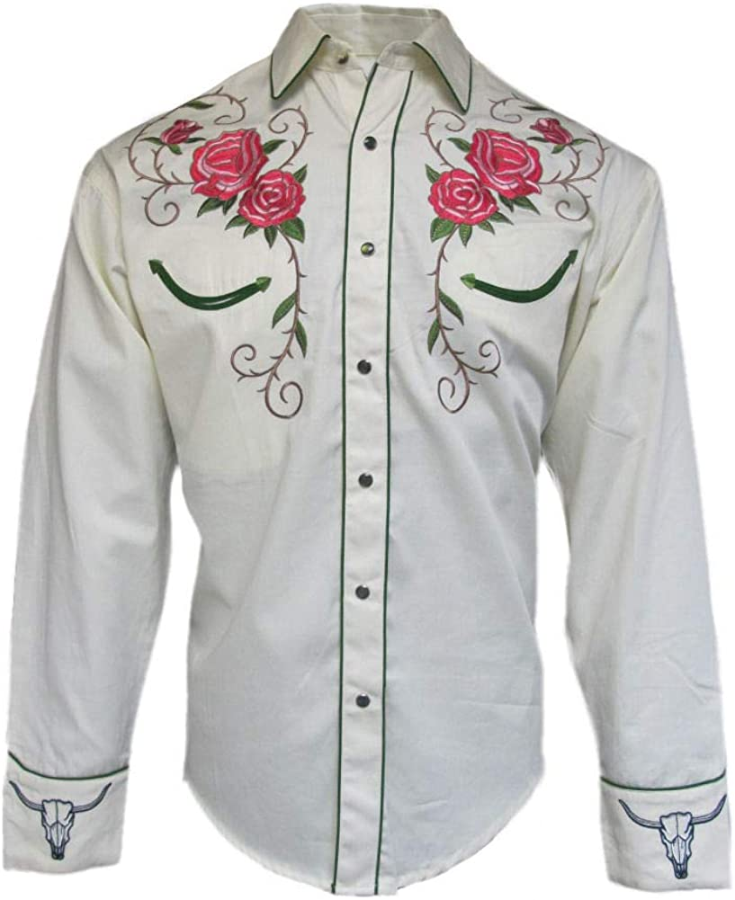 Rockmount Mens Longhorn Steer Floral Cream Shirt Import Cowboy Western latest