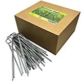 Ugold 120 Pack Galvanized Garden Stakes Landscape Staples, 6 inch 11-Gauge, Fence Stake, Ideal for...