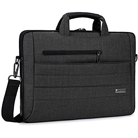 BRINCH Laptop Bag Slim Light Business Briefcase Shoulder Messenger Bag Water Resistant Portable Computer Carrying Sleeve Case w/Strap and Hidden Handle Fits 14 Inches Laptop,Black