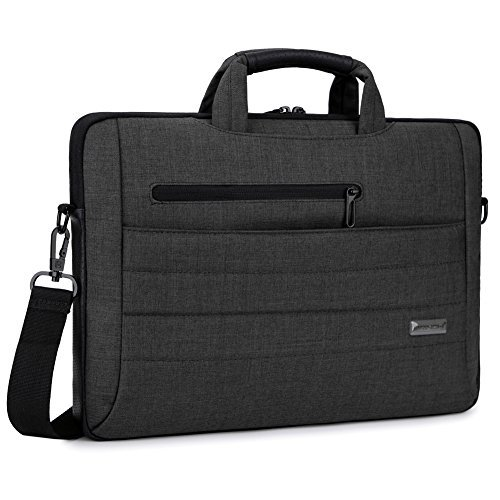 BRINCH Laptop Bag Slim Light Business Briefcase Shoulder Messenger Bag Water Resistant Portable Computer Carrying Sleeve Case w/Strap and Hidden Handle Fits 14 Inches Laptop,Black
