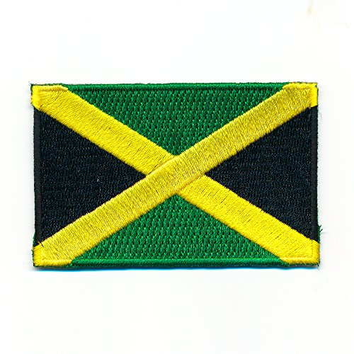 40 x 25 mm Jamaika Kingston Karibik Rastafari Bob Marley Flag Aufnäher Aufbügler 0992 A