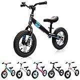Bicicleta sin Pedales para Niños 2-6 años hasta 30 kg Ultraligera Mini Bici Bebés Infantil Andadores Bebé Equilibrio con Sillín y Manilar Regulable Ruedas bombeadas First bike (niños, negro/azul)