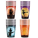 Aneco 24 Pieces 9 Ounces Halloween Paper Cups Drinking Cups Disposable Party Cups in 4 Designs for Halloween Party Supplies