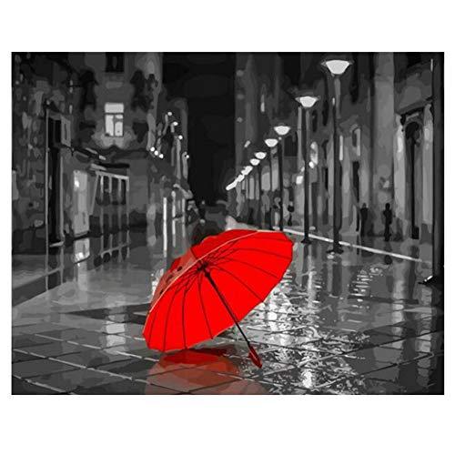 GKJRKGVF Kleurplaten Door Getallen Verf Door Aantal Foto Rustige Straat Schilderen Kalligrafie Paraplu