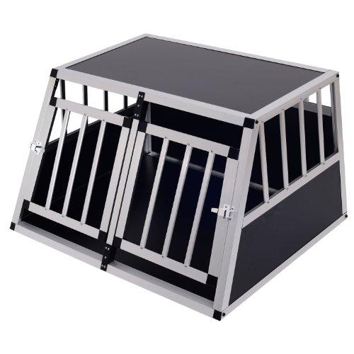Pawhut Jaula Aluminio para Perros Transportín Aluminio de Perro para Viaje Doble Puerta con Tabique Hermético Extraíble 89,5x68,5x50 cm
