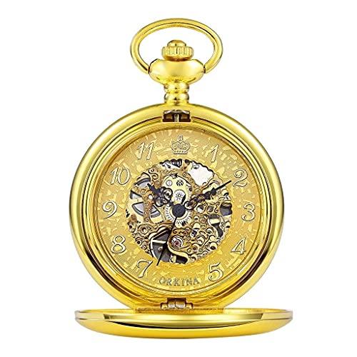 Klassische stilvolle Taschenuhr.Goldene Herren Damen Taschenuhr Mechanische Hohle Ziffern Gravierte Gold Handaufzug Taschenuhr für ältere Fob Uhr mit Kette + Geschenkbox (Farbe : Silber) Präzise